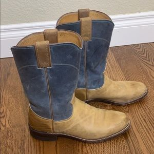 Justin Tan and Blue Western Boots Style L3363